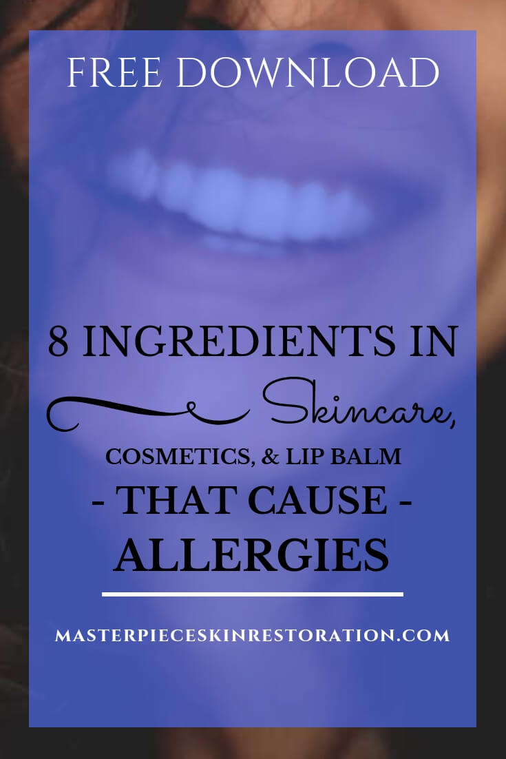"Lower half of a young woman's face smiling with pretty lips and teeth and blue text overlay, ""Free Download 