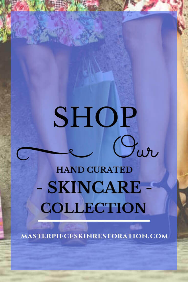 "Women's legs and shopping bags with blue text overlay, ""SHOP Our Hand Curated Skincare Collection! 