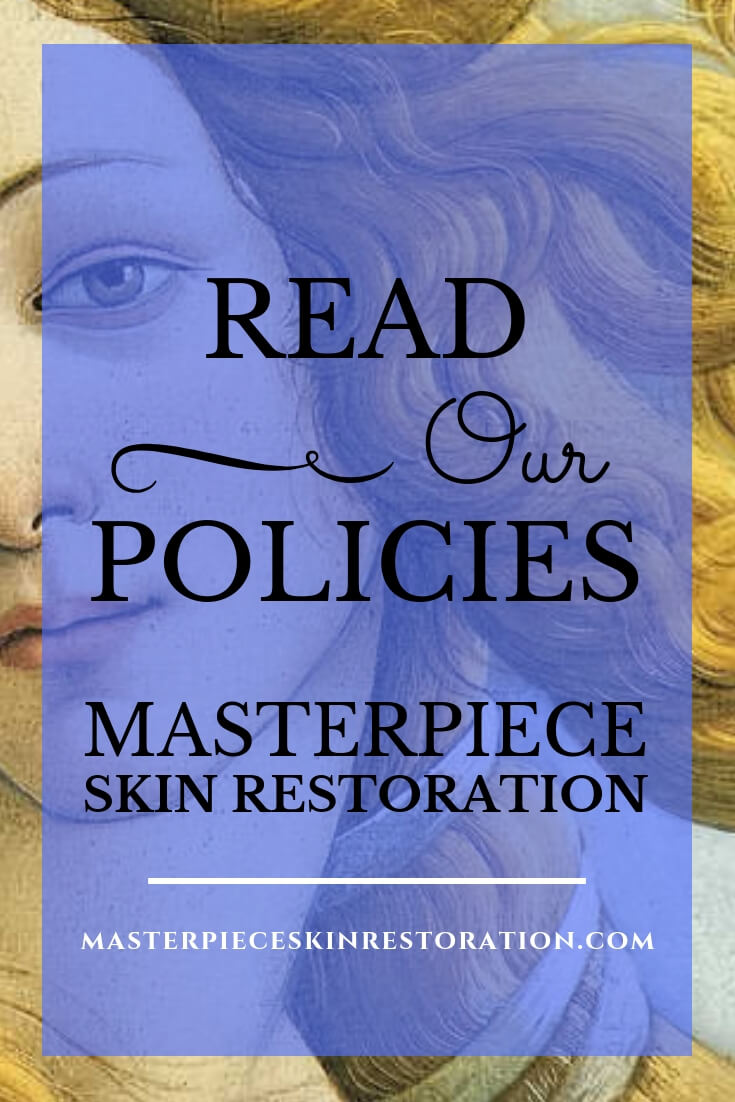 "Botticelli's Venus head shot with text overlay, ""Read Our Policies 