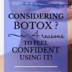 "Closeup of woman's lips holding a Botox syringe with blue text overlay, ""Considering Botox? 4 Reasons to Feel Confident Using It! 