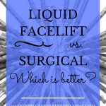 "Floating ball of syringes with blue text overlay, ""Liquid Facelift vs. Surgical Facelift 
