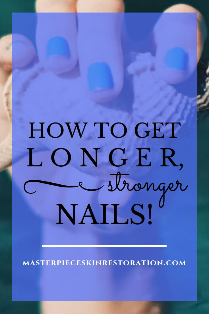 "Hand with blue nail polish holding a seashell with blue text overlay, ""How to Get Longer, Stronger Nails! 