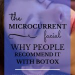 "Woman with beautiful skin getting a microcurrent facial with blue text overlay, ""The Microcurrent Facial 