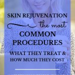 """Pretty blonde woman with long hair smiling with blue text overlay, """"Skin Rejuvenation 