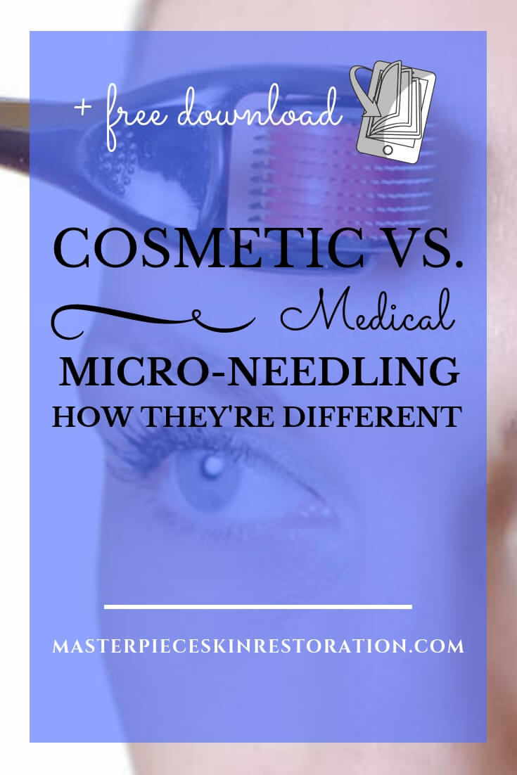 "woman using a derma roller on her forehead with blue text overlay, ""Cosmetic vs. Medical Micro-Needling 