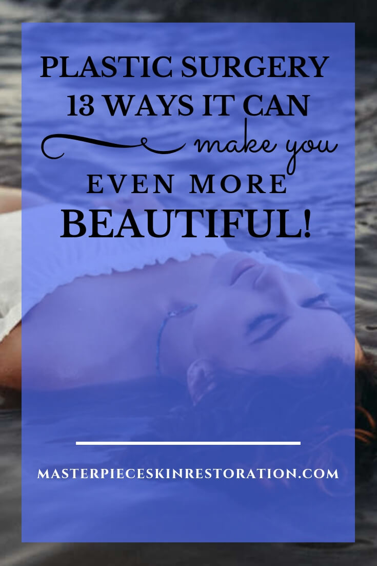 "A beautiful woman laying in the surf with blue text overlay, ""Plastic Surgery 