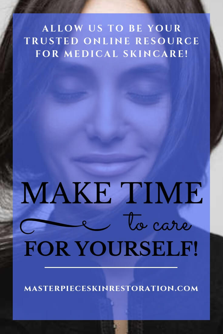 "Beautiful woman smiling, eyes closed, hair caught in her collar with blue text overlay, ""Allow us to be your trusted online resource for medical skincare! 