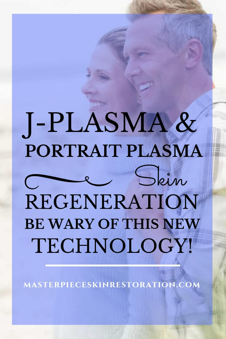 "Attractive older couple on beach with blue text overlay,"" J-Plasma & Portrait Plasma Skin Regeneration 