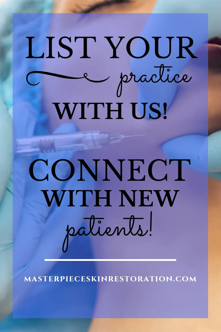 "Woman getting a jawline injection with blue text overlay, ""List Your Practice With Us! 